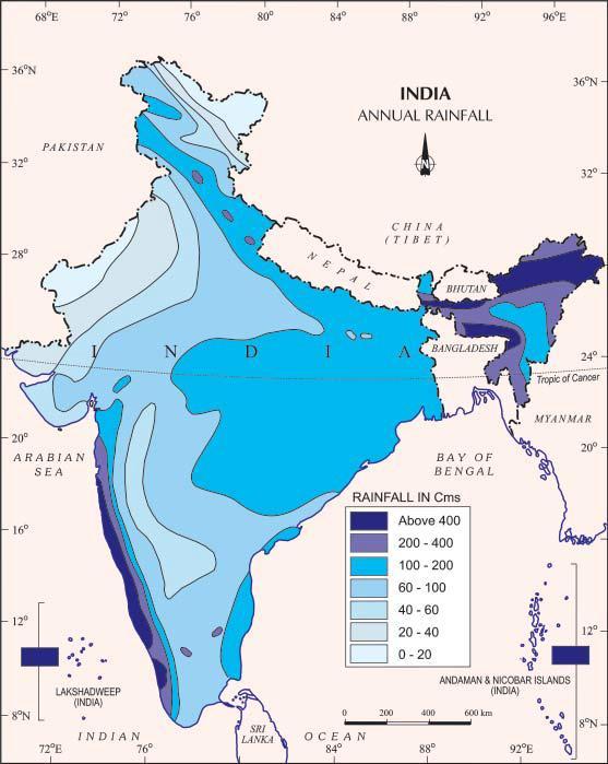 average annual rainfall in india